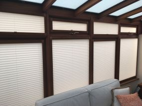 Wooden conservatory side window blinds in cream - Conservatory Roof Blinds